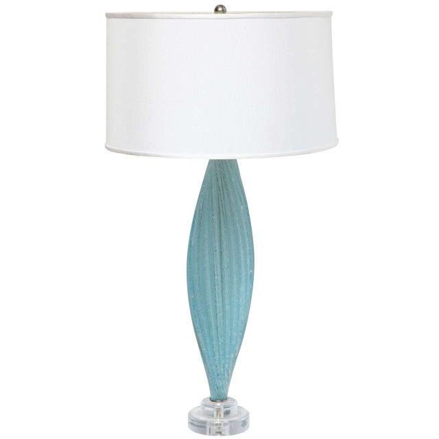 Image of Mid-Century Blue Murano Glass Lamp