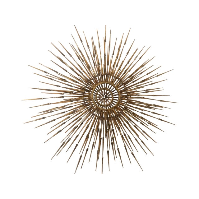 mid century metal starburst wall sculpture chairish. Black Bedroom Furniture Sets. Home Design Ideas