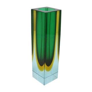 Italian Mandruzzato Mid-Century Modern Blue, Green and Yellow Murano Glass Vase MCM
