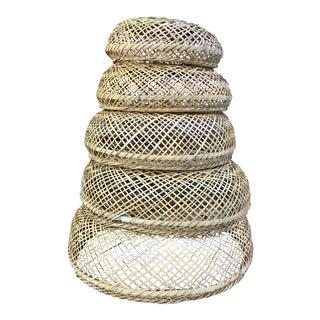 Vintage Bohemian Stackable Nesting Baskets - Set of 5