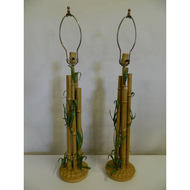 Vintage Metal Faux Bamboo Lamps - A Pair - Image 2 of 9