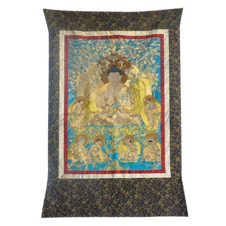 Hand Embroidery Golden Outline Sakyamuni Buddha Sitting Meditate Under Tree Thangka