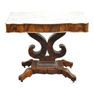 Antique American Empire Flame Mahogany Marble Top Console Hall Center Table