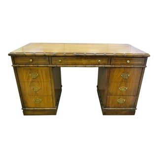 Chippendale Style Partners Desk With Faux Bamboo