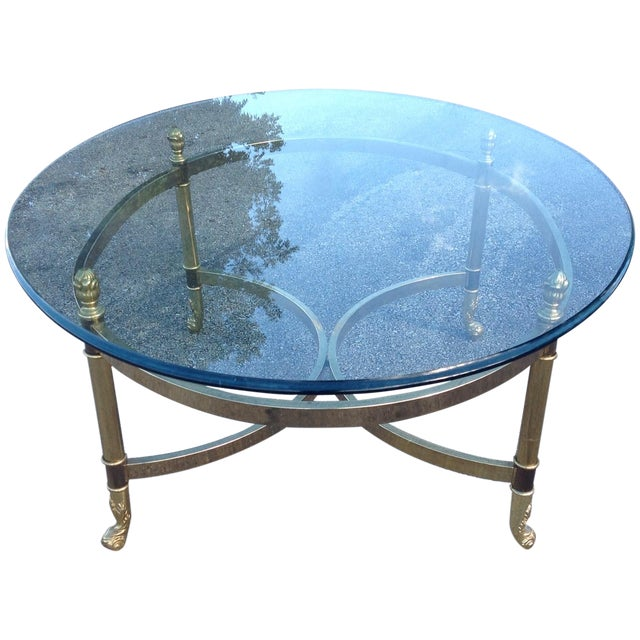 Lebarge Brass Hollywood Regency Coffee Table - Image 1 of 5