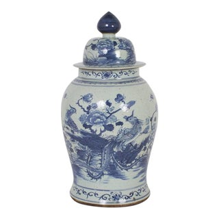 Pair of Blue and White Chinese Export Style Porcelain Jars