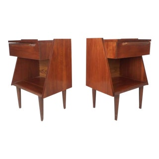 Unique Mid-Century Modern Walnut Nightstands