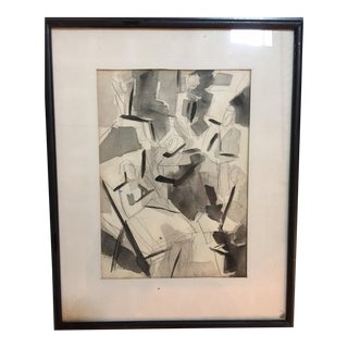 """Black & White """"The Group"""" Vintage Abstract Watercolor"""