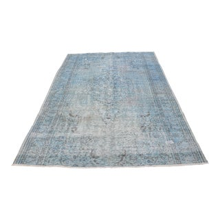 Turkish Oversize Antique Blue Handwoven Carpet - 6′1″ × 9′