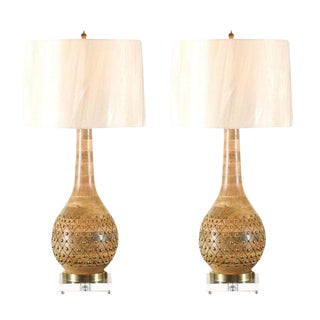 Exquisite Pair of Hand-Made Brass Studded Gourd Vessels as Custom Lamps