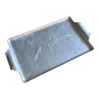 Vintage Aluminum Tray With Heron Scene
