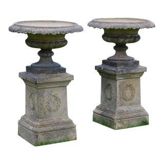 Stoneware Urns on Pedestals