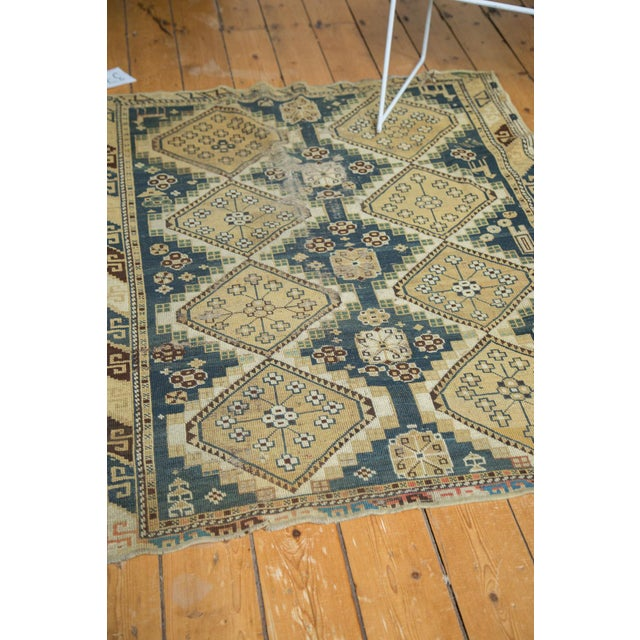 """Vintage Fragmented Caucasian Square Rug - 3'9"""" x 4'8"""" - Image 7 of 7"""