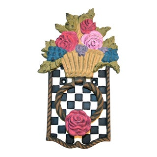MacKenzie Childs Checkerboard & Flowers Door Knocker