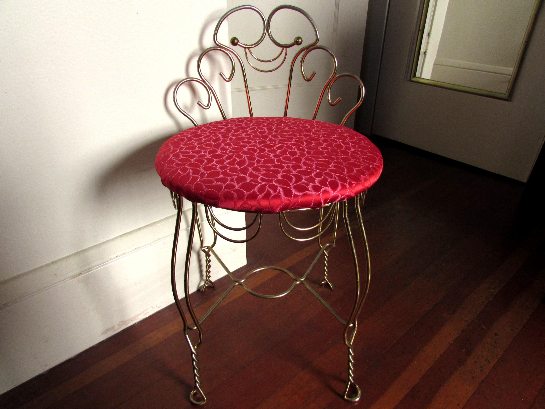 Vintage Red U0026 Brass Vanity Stool   Image 2 ...