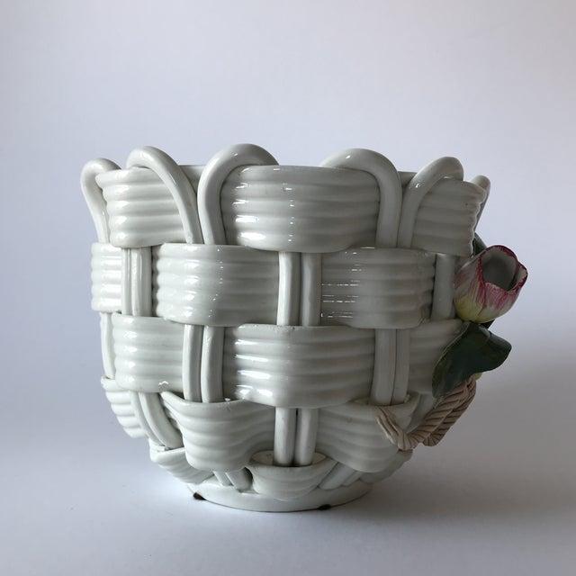 Majolica Basketweave Tulip Planter - Image 3 of 10