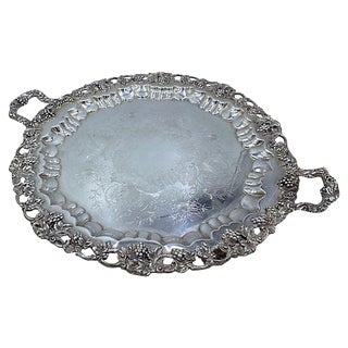 Vintage Heavy Oversized Silver-Plate Grapevine Tray