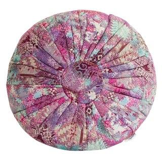 Abstract Floral Batik Pouf Pillow, Pink