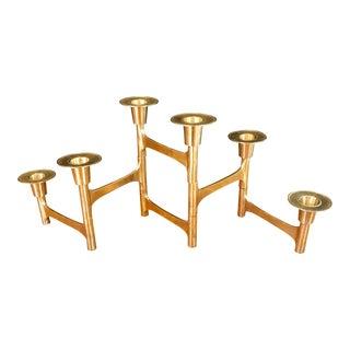Mid-Century Modern Articulating Brass Candelabra