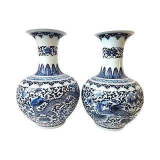 Onion-Shaped Blue & White Wedding Vases - A Pair