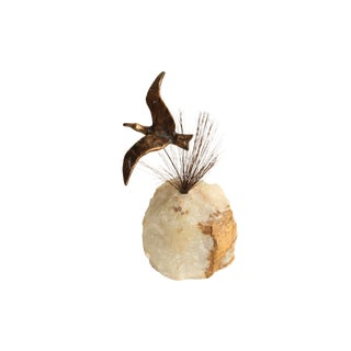 "Jere ""Bird in Flight"" Brass and Quartz Sculpture"