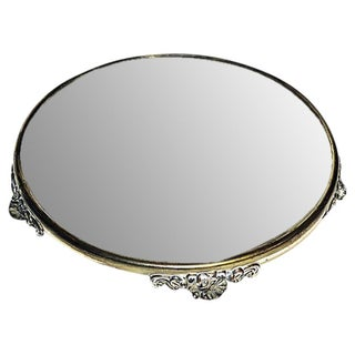 Antique 1920s Mirror & Silverplate Vanity Tray