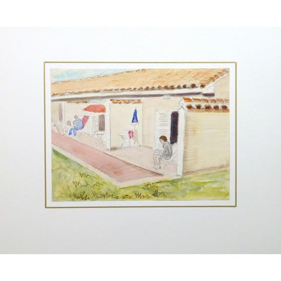 Image of Vintage French Vacation Watercolor, 1977
