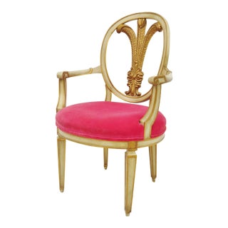 Cream & Gold Carved Plume Back Chair