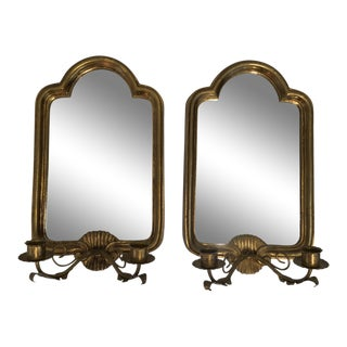 Gilt Italian Mirrored Sconces - A Pair
