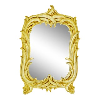 Vintage Syroco Wood Framed Wall Mirror - Antique White