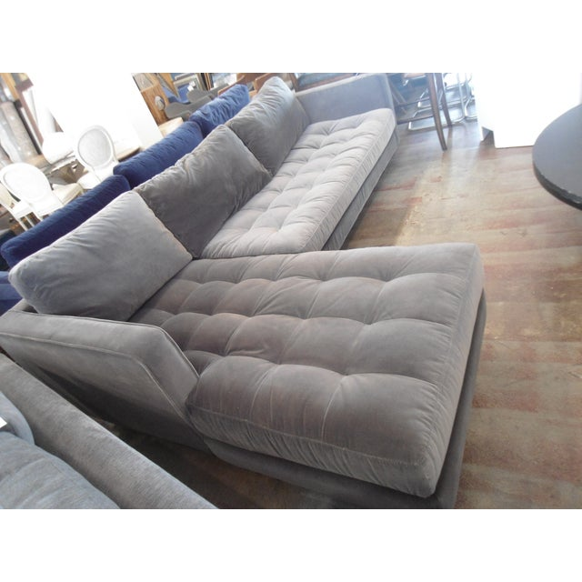 Shadow Gray Velvet Sectional, Left Chaise, Tufted Seating - Image 3 of 6