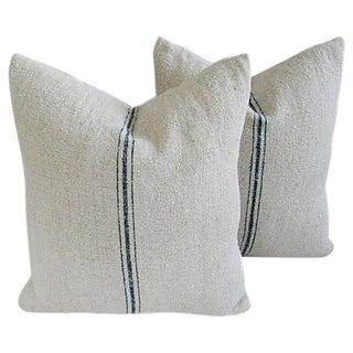 Vintage French Grain-Sack Pillows - Pair