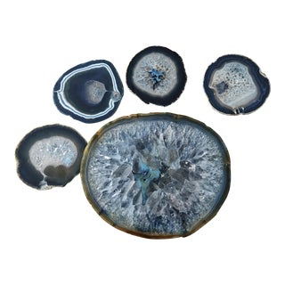 Blue Geode Cheese Platter & Coasters - Set of 5
