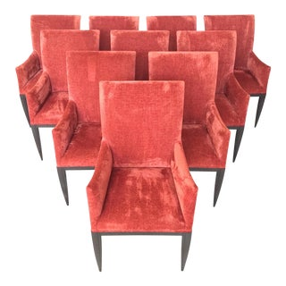 Luxurious Dessin Fournir Werth Contemporary Red Dining Armchairs / Chairs - Set of 10