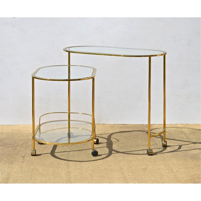 Brass & Glass Bar Cart - Image 6 of 9