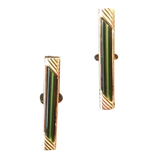 Swank Vintage Gold & Faux Jade Cufflinks - A Pair