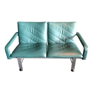 Brayton International Turquoise Leather 2-Seat Sofa