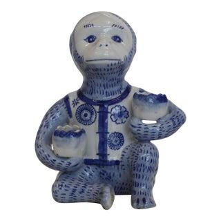 Blue & White Ceramic Monkey Candleholder