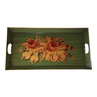 Fruit & Floral Green Tole Metal Tray