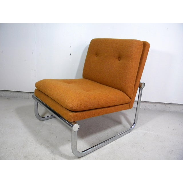 Image of Mid Century Armless Chrome Chair