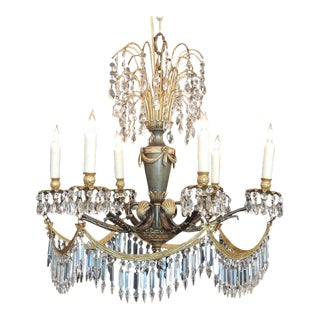 Early 20th C Italian Crystal and Bronze Chandelier