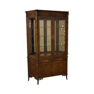 Century Vintage Walnut Faux Bamboo Curio Cabinet