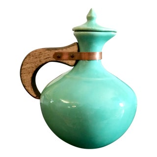 Vintage Tiffany Blue Bauer Plain Ware Pottery Carafe