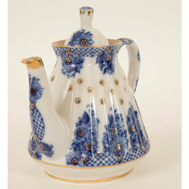 Lomonosov Cobalt Blue & Gold Porcelain Teapot - Image 8 of 11
