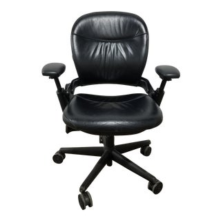 Steelcase Black Leather Leap Executive Chair
