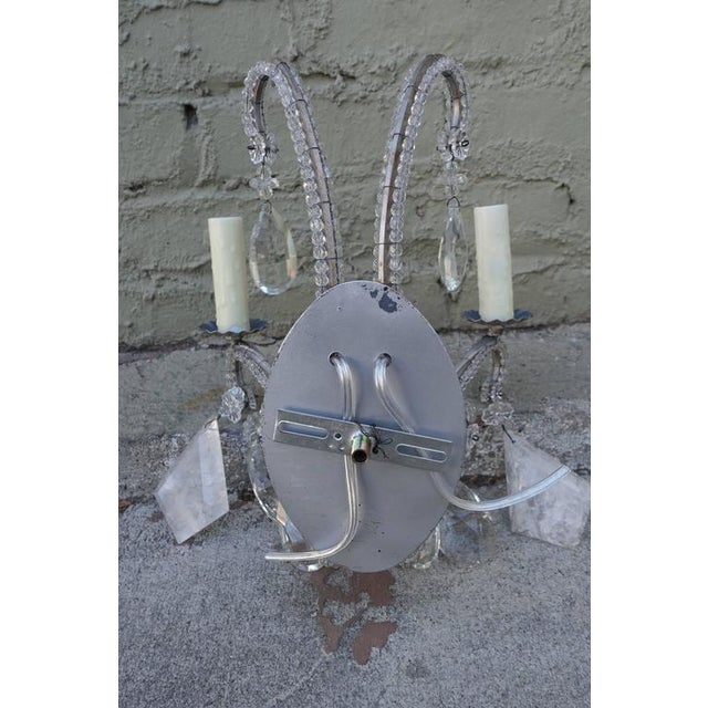 Image of Pair of Silvered Rock Crystal Sconces