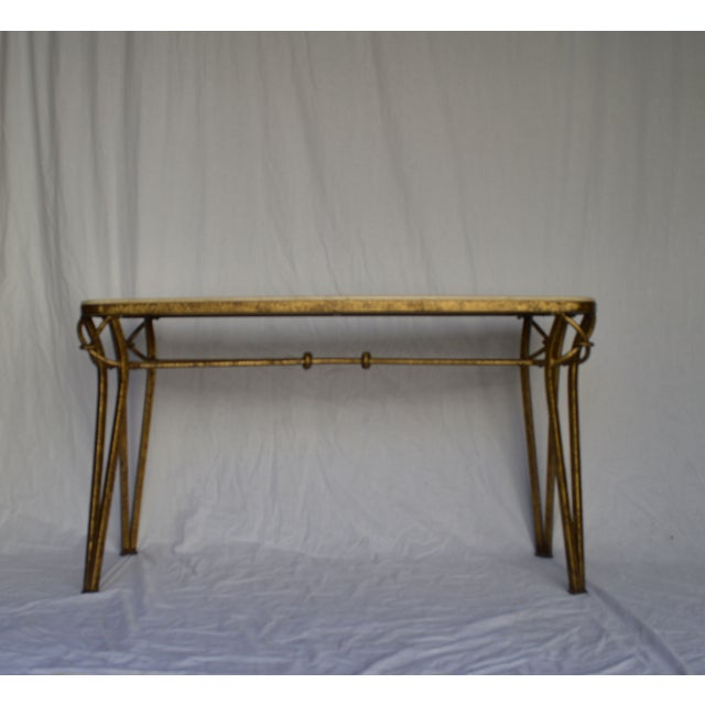 Image of 1970s Gold Leaf Console with Travertine Top