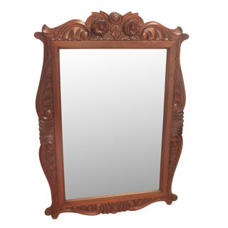 Carved Frame Mahogany Bevel Mirror