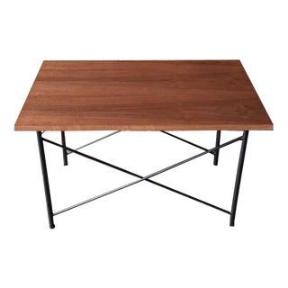 Custom Mid Century Style Walnut Wrought Iron Side Coffee Table