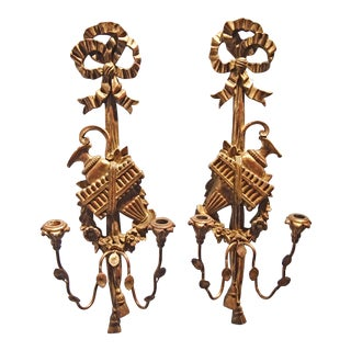 Palladio Italian Giltwood and Metal Wall Sconces - A Pair